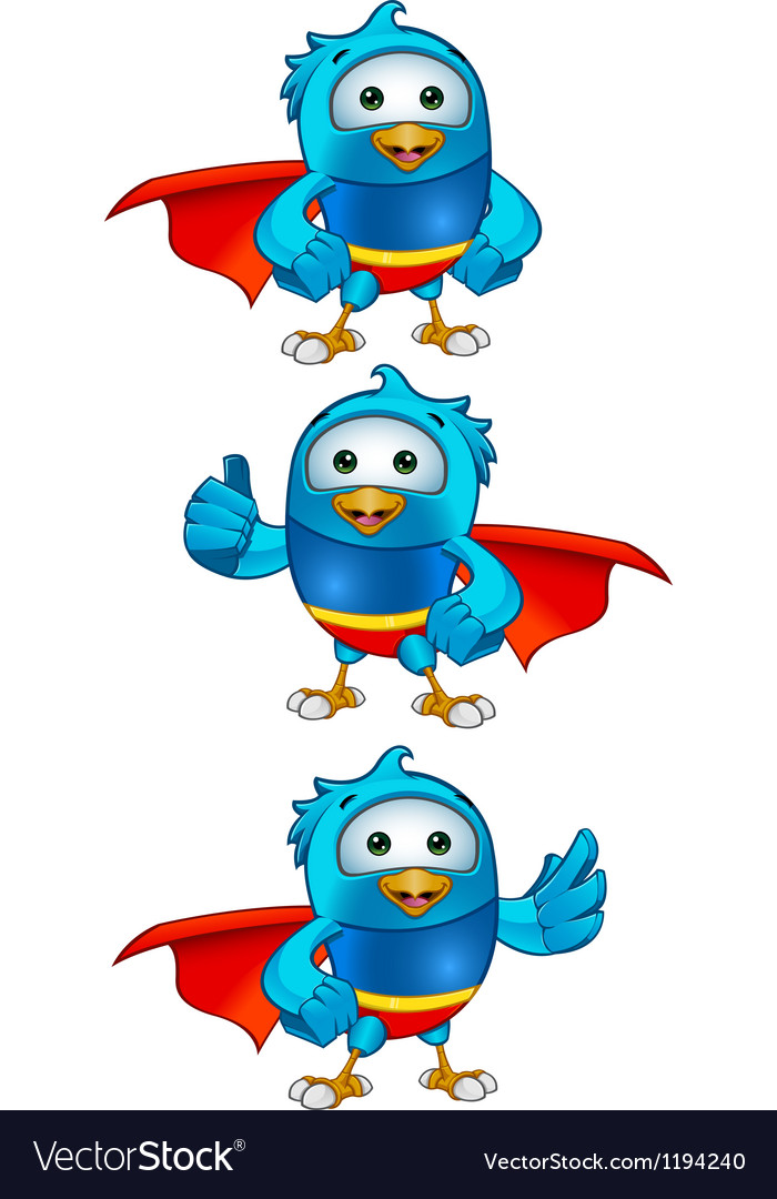 Super blue birds set 1 vector | Price: 1 Credit (USD $1)