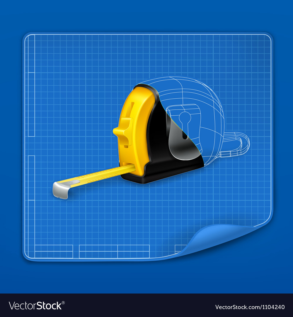 Tape measure drawing blueprint vector | Price: 1 Credit (USD $1)