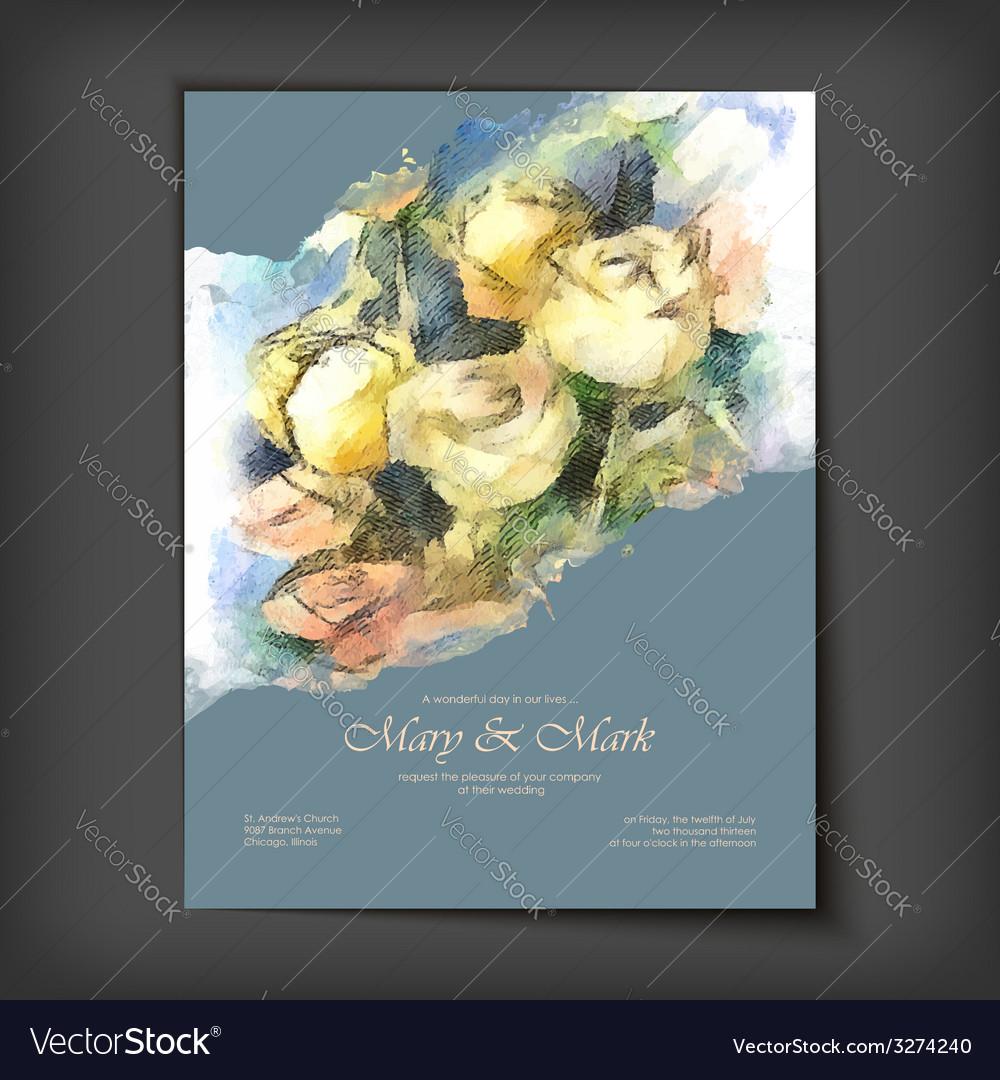 Watercolor roses wedding invitation vector | Price: 1 Credit (USD $1)
