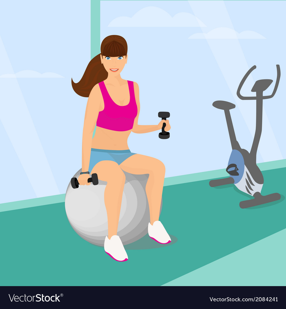 Beautiful woman exercising with two dumbbell vector | Price: 1 Credit (USD $1)