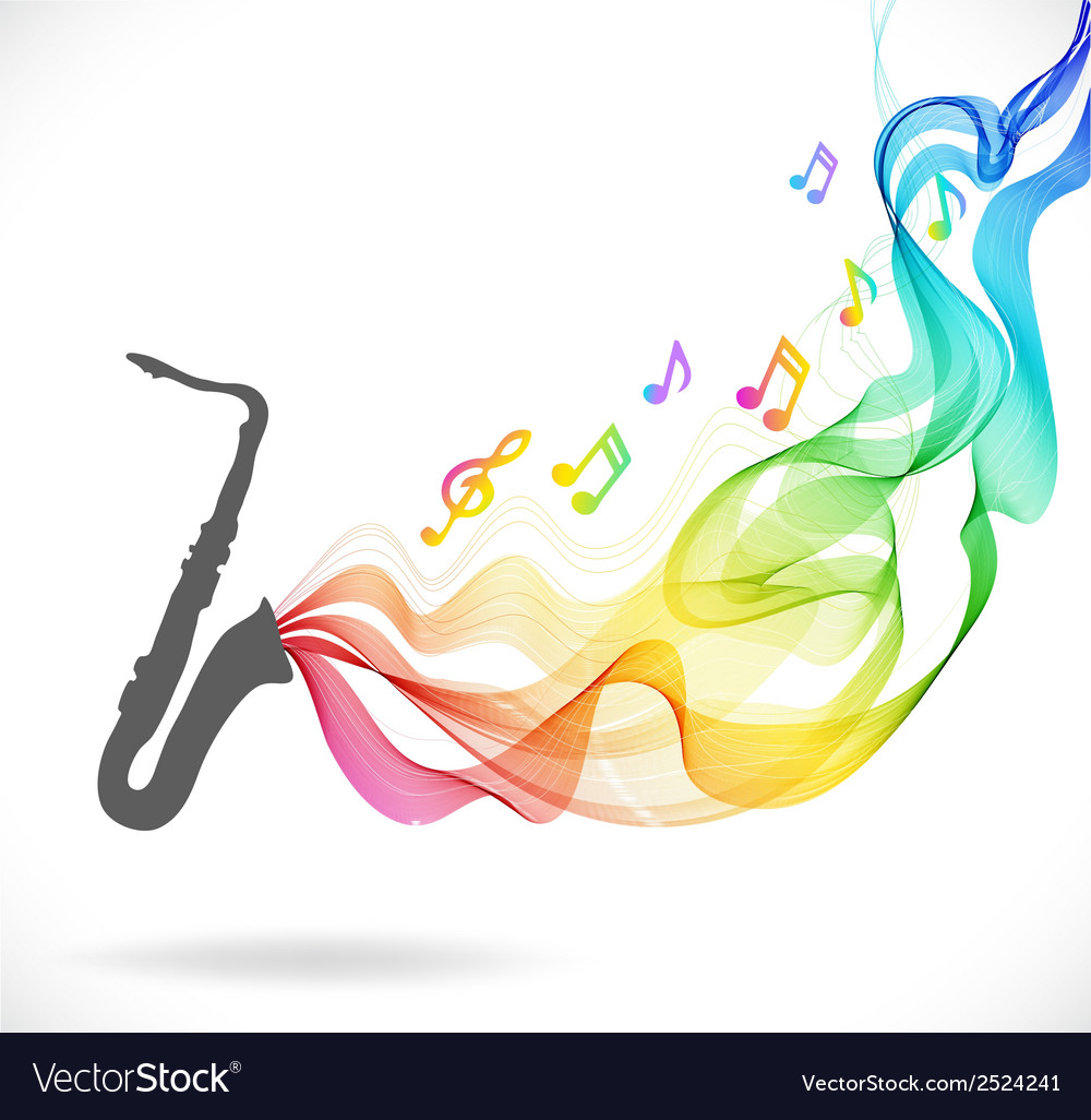 Dark gray saxophone icon with color abstract wave vector | Price: 1 Credit (USD $1)