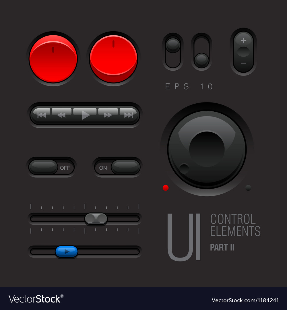 Dark web ui elements buttons switches vector | Price: 3 Credit (USD $3)