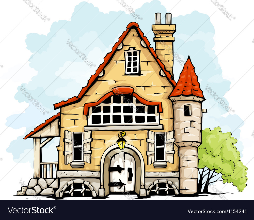 Fairytale old house in retro vector | Price: 1 Credit (USD $1)