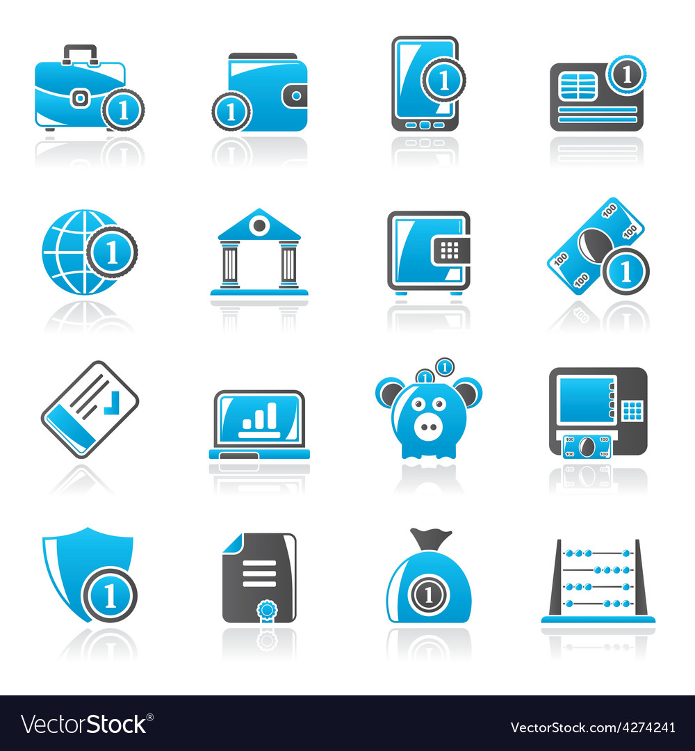 Financial banking and money icons vector | Price: 1 Credit (USD $1)
