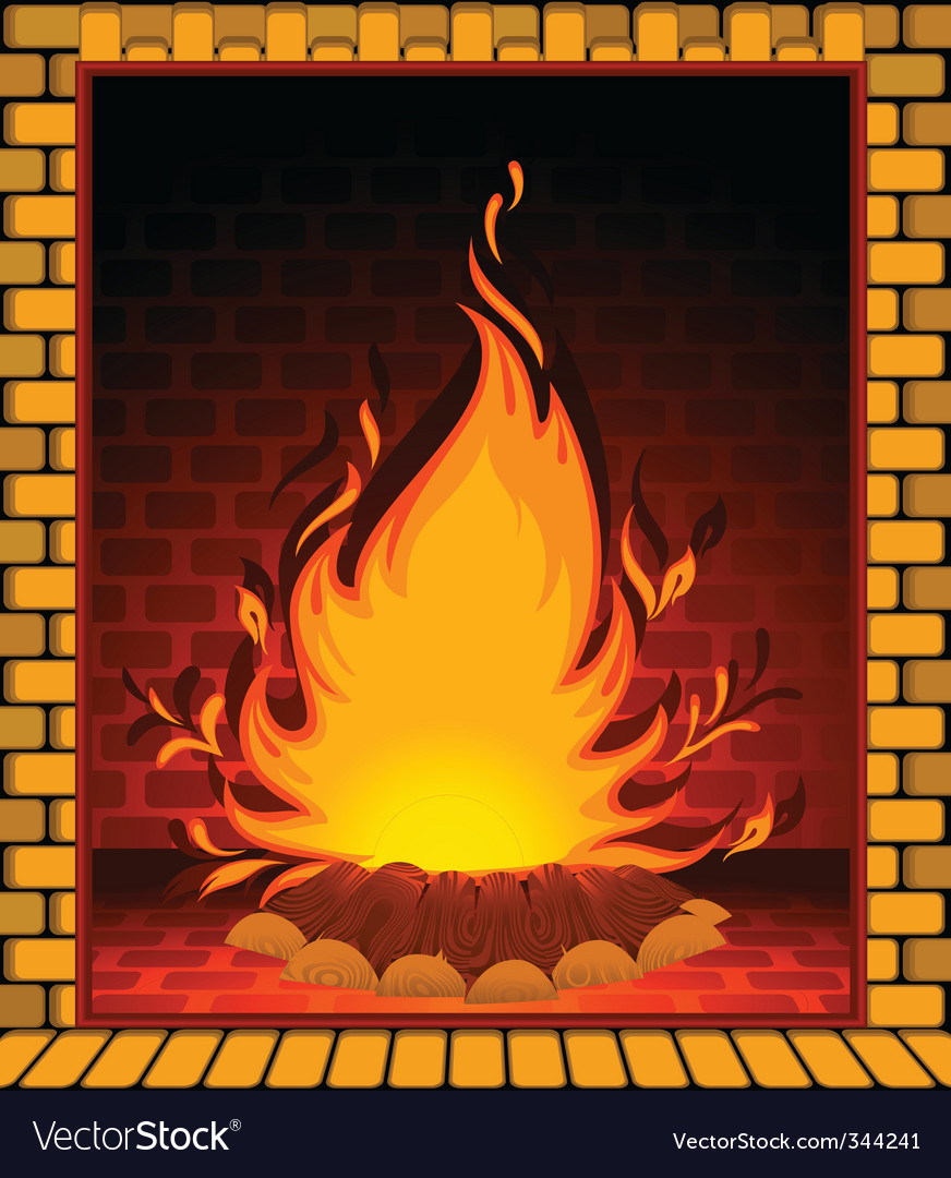 Fire burning in fireplace vector | Price: 1 Credit (USD $1)