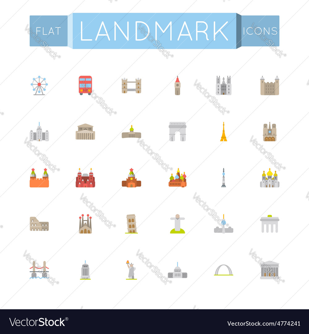Flat landmark icons vector | Price: 1 Credit (USD $1)
