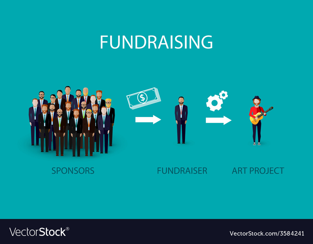 Flat of an infographic fundraising concept a group vector | Price: 1 Credit (USD $1)