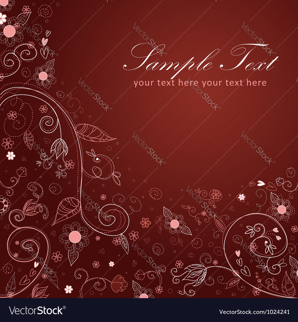 Floral twirl postcard brown vector | Price: 1 Credit (USD $1)