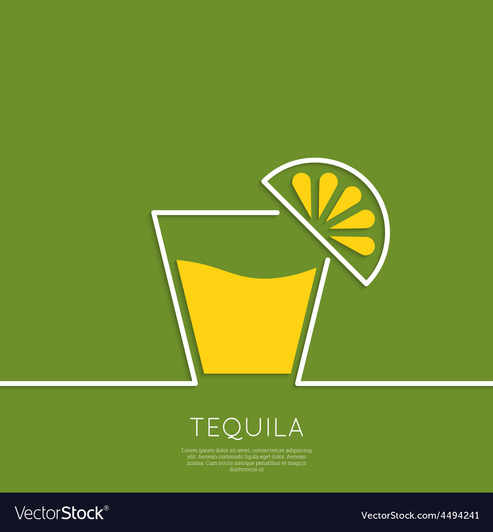Glass of tequila with lemon vector | Price: 1 Credit (USD $1)