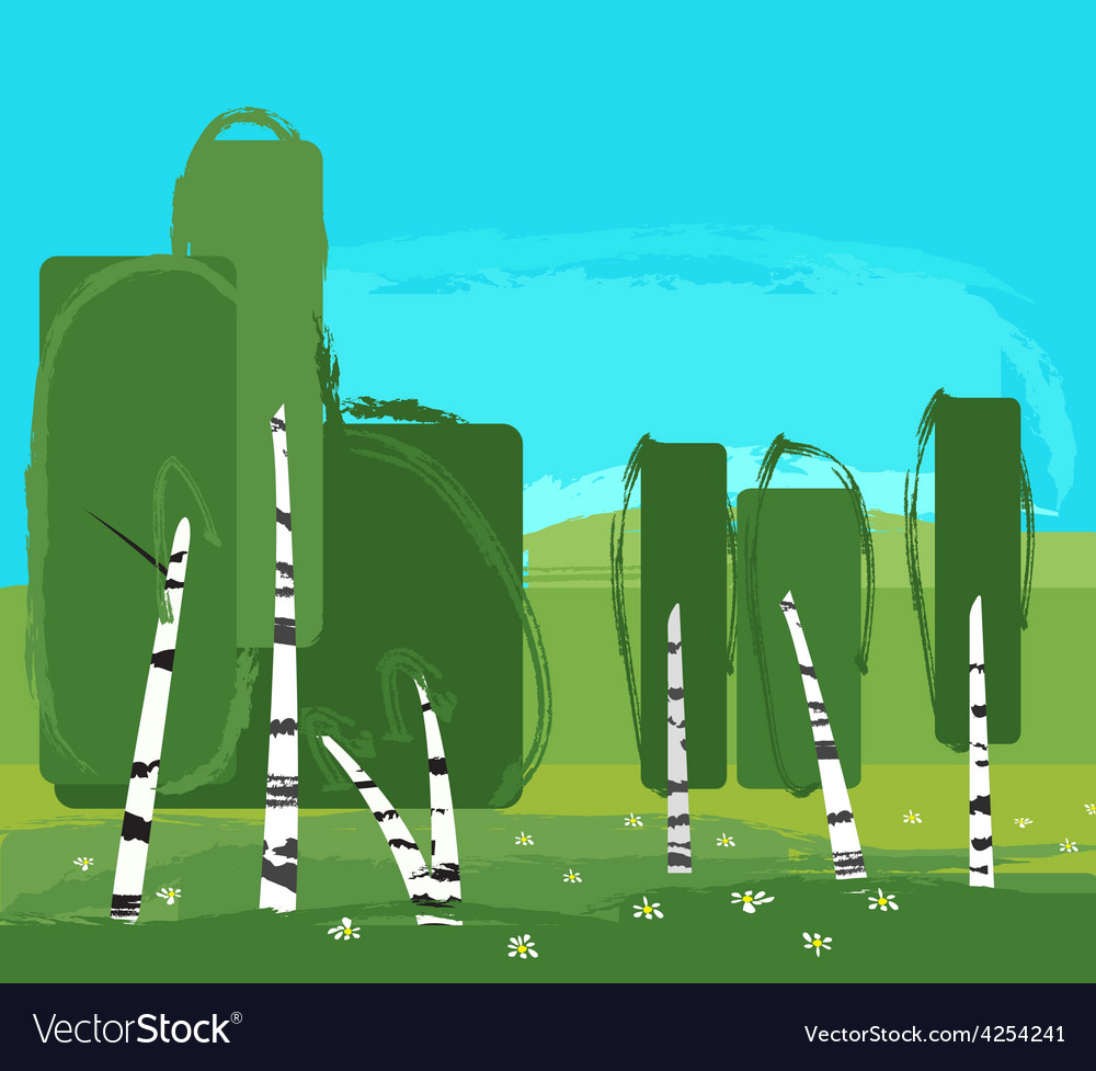 Landscape with birch vector | Price: 1 Credit (USD $1)
