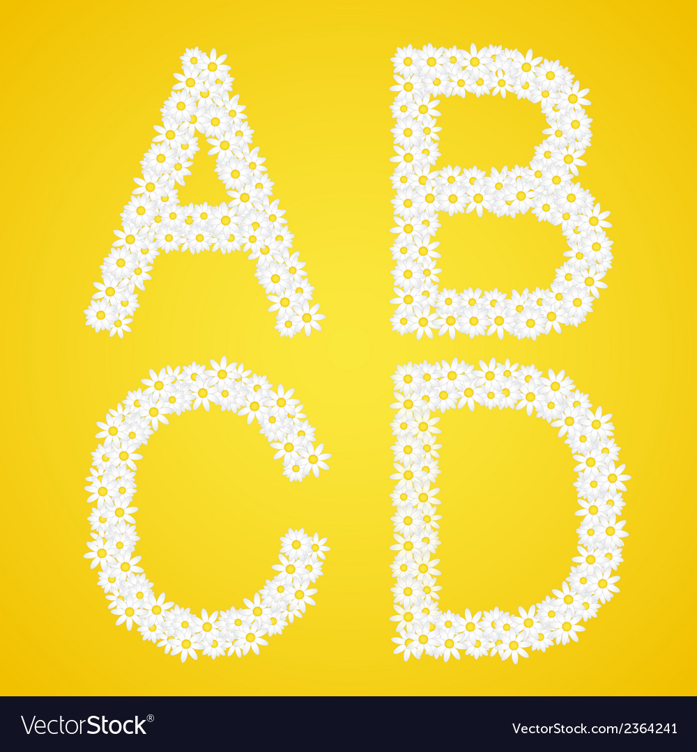 Letters abcd composed from daisy flowers complete vector | Price: 1 Credit (USD $1)