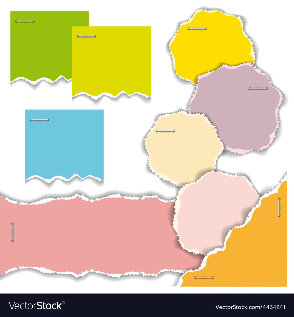 Pieces of torn colorful sheets of paper vector | Price: 1 Credit (USD $1)