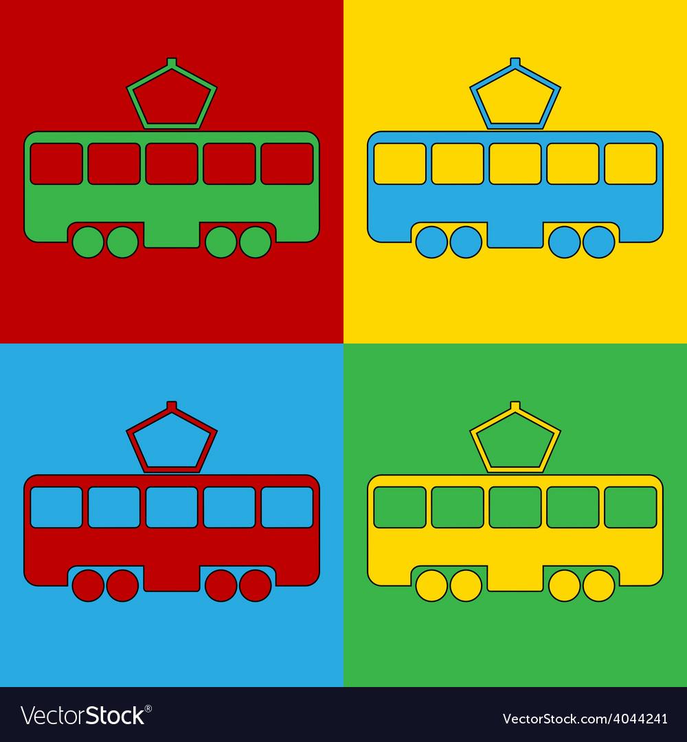 Pop art tram icons vector | Price: 1 Credit (USD $1)