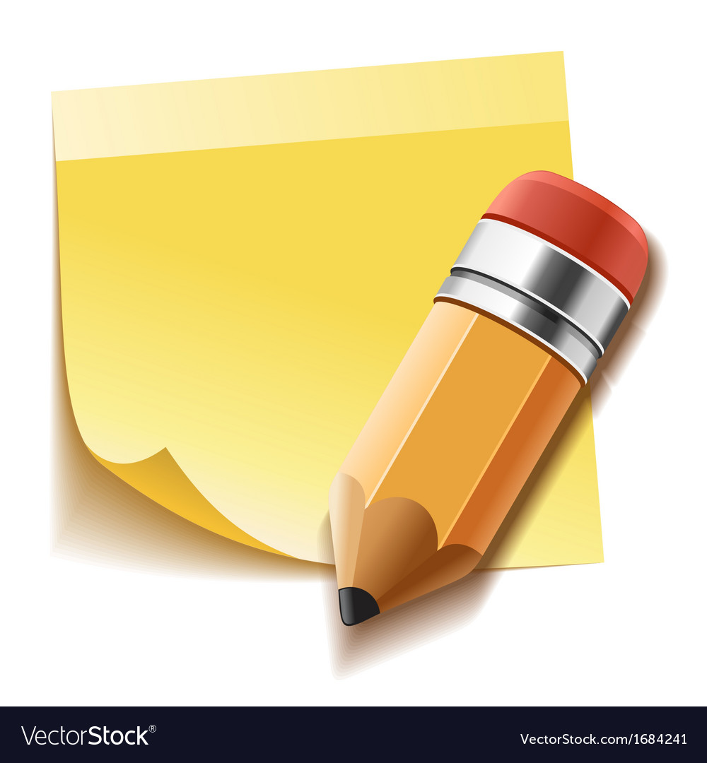 Realistic yellow stick note and pencil vector | Price: 1 Credit (USD $1)