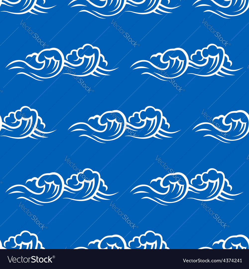 Sea waves and surf seamless pattern vector | Price: 1 Credit (USD $1)