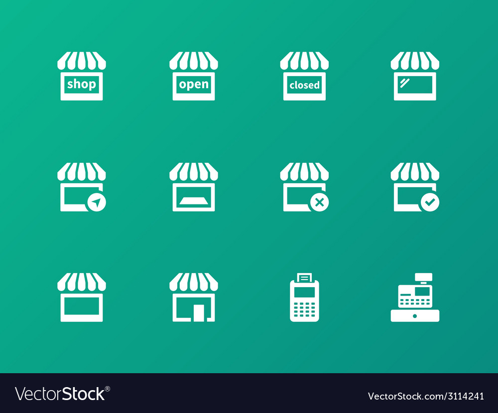 Shop icons on green background vector | Price: 1 Credit (USD $1)