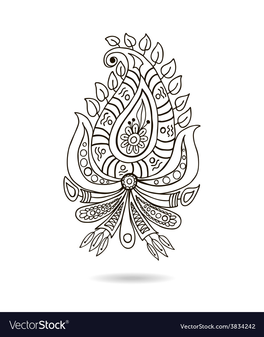 Beautiful indian floral ornament for your business vector | Price: 1 Credit (USD $1)