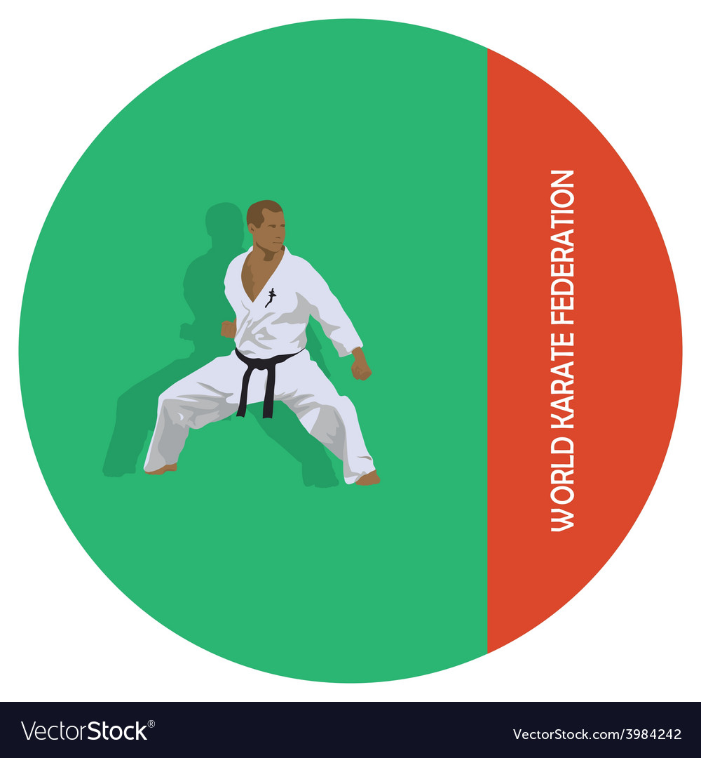 The emblem the man is engaged in karate vector | Price: 1 Credit (USD $1)
