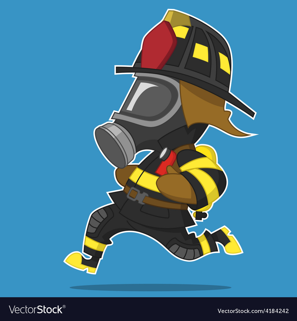 Firefighter runs vector | Price: 3 Credit (USD $3)