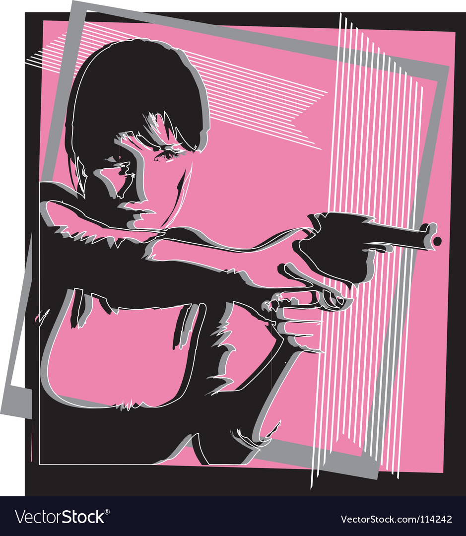 Girl with a gun vector | Price: 1 Credit (USD $1)