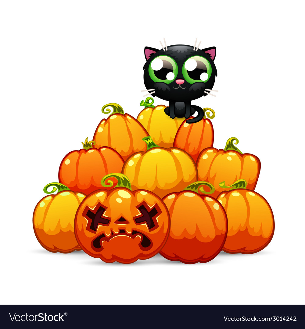 Heap of halloween pumpkins with a black cat on it vector | Price: 1 Credit (USD $1)
