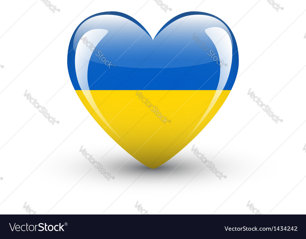 Heart-shaped icon with national flag of ukraine vector | Price: 1 Credit (USD $1)