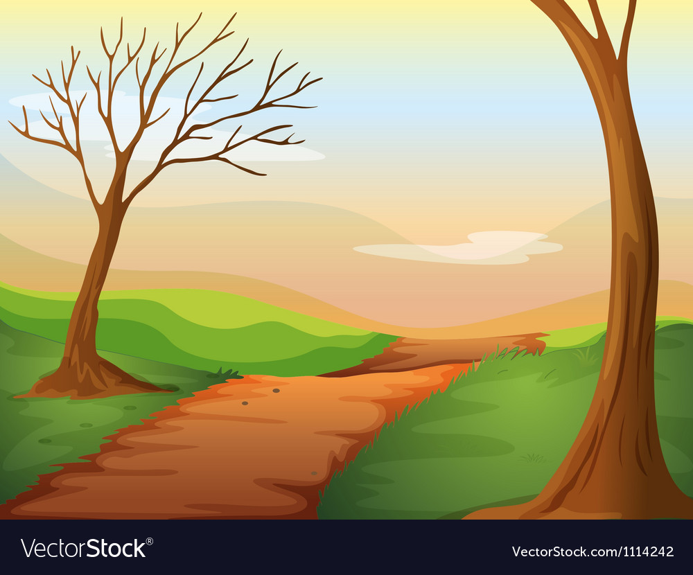 Lonely road in beautiful nature vector | Price: 1 Credit (USD $1)