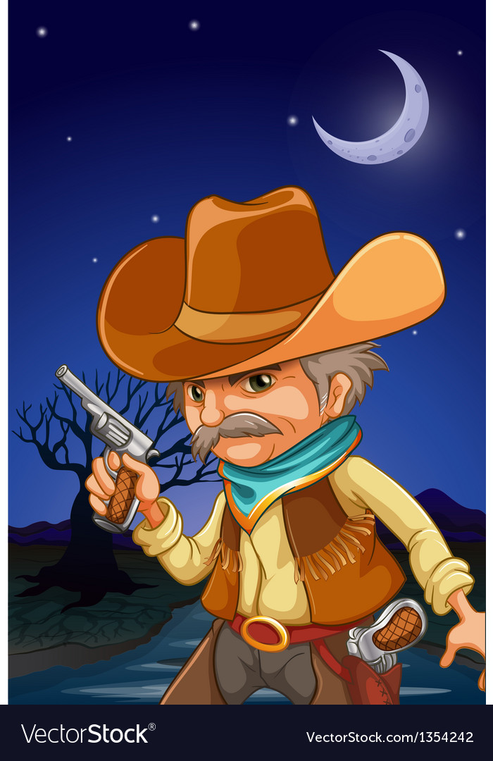 Nighttime cowboy vector | Price: 1 Credit (USD $1)