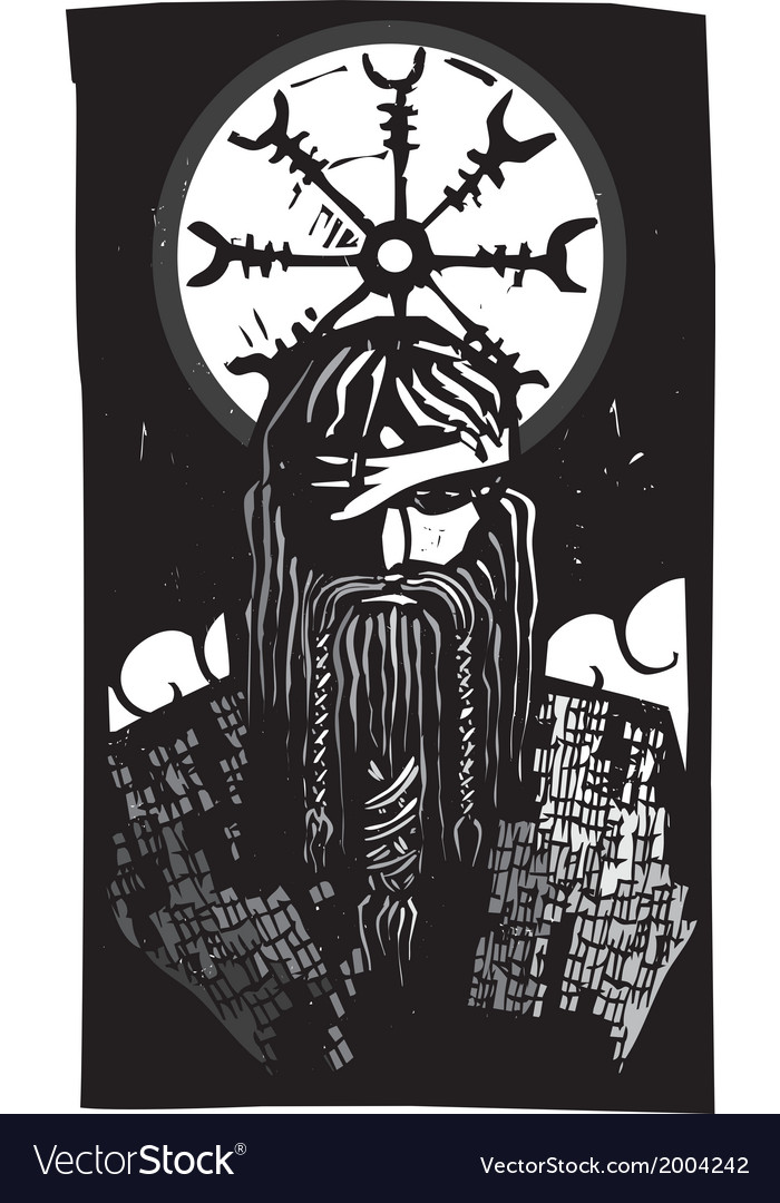 Norse god odin and wheel symbol vector   Price: 1 Credit (USD $1)