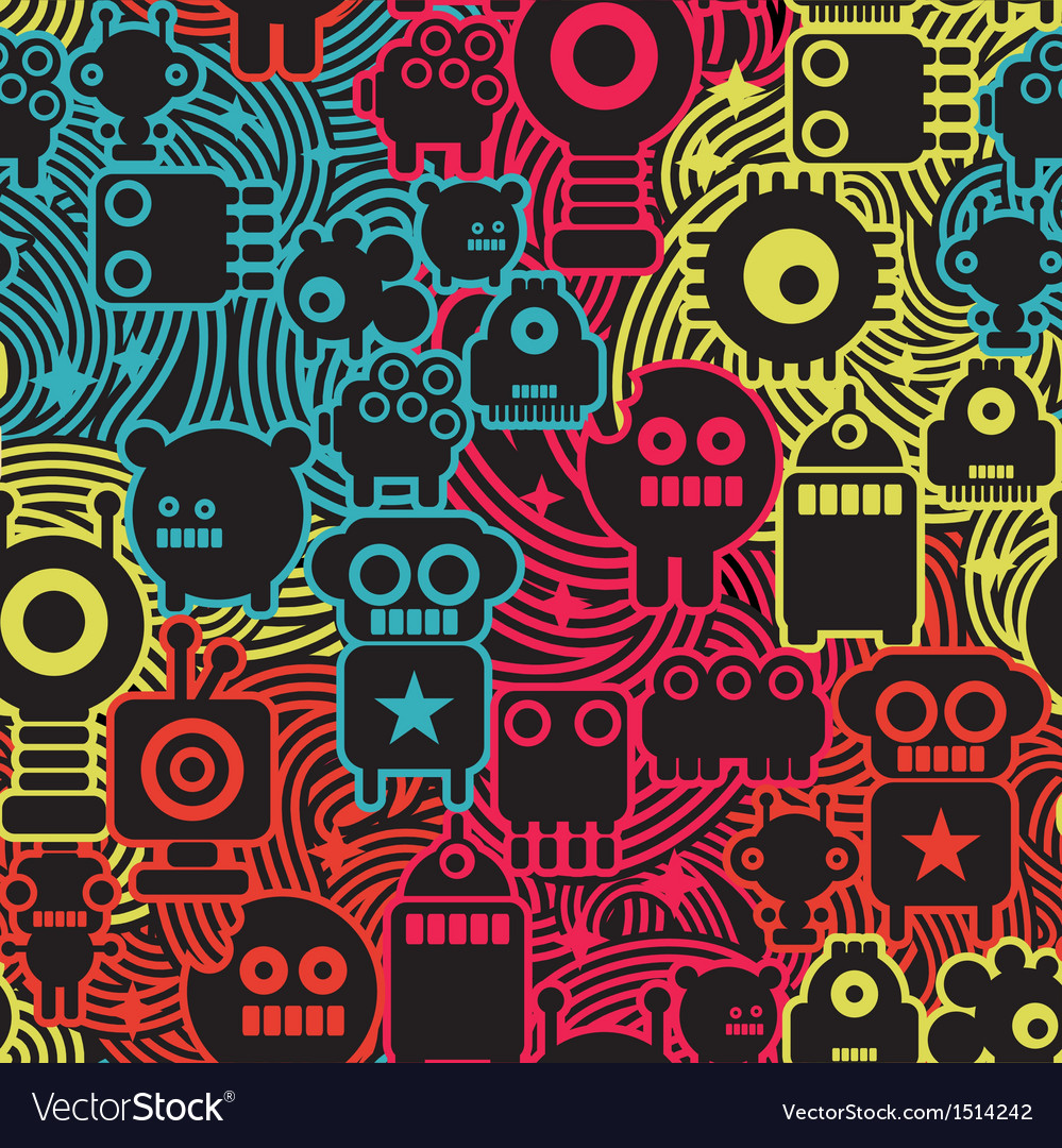 Robot and monsters cool seamless pattern vector | Price: 1 Credit (USD $1)