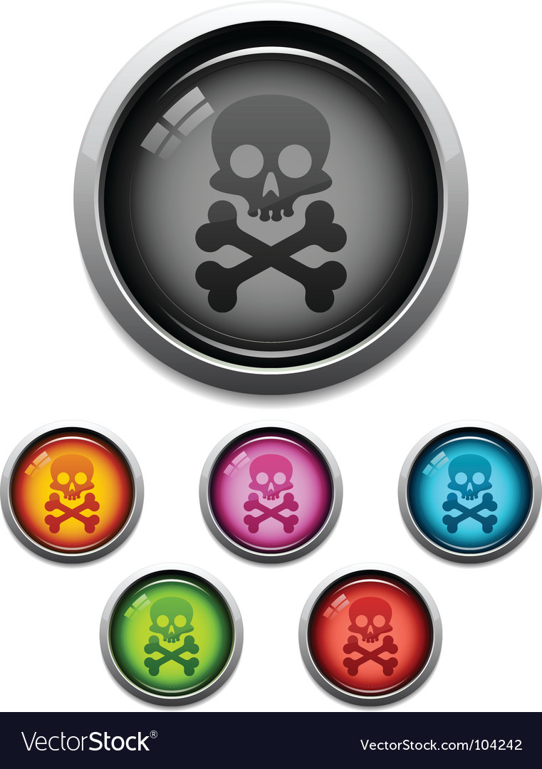 Skull button icon vector | Price: 1 Credit (USD $1)
