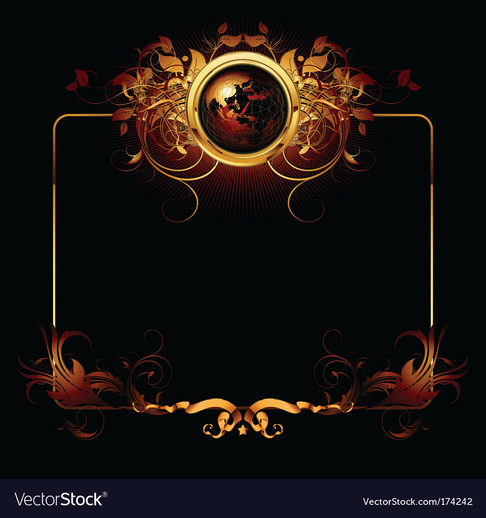 World with ornate vector | Price: 3 Credit (USD $3)