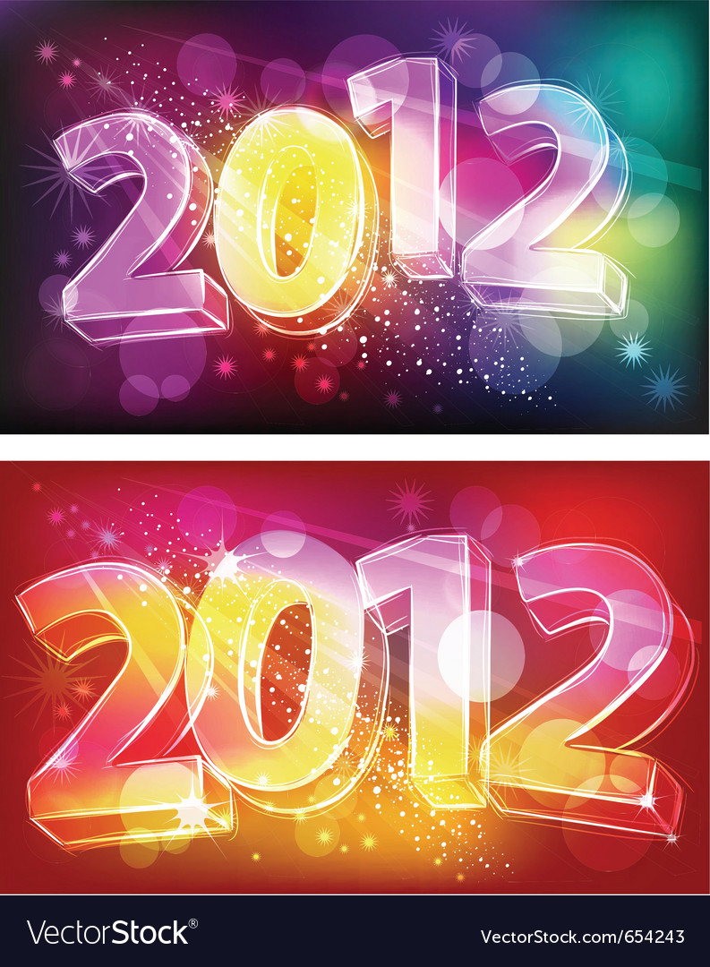 2012 on neon background vector | Price: 1 Credit (USD $1)