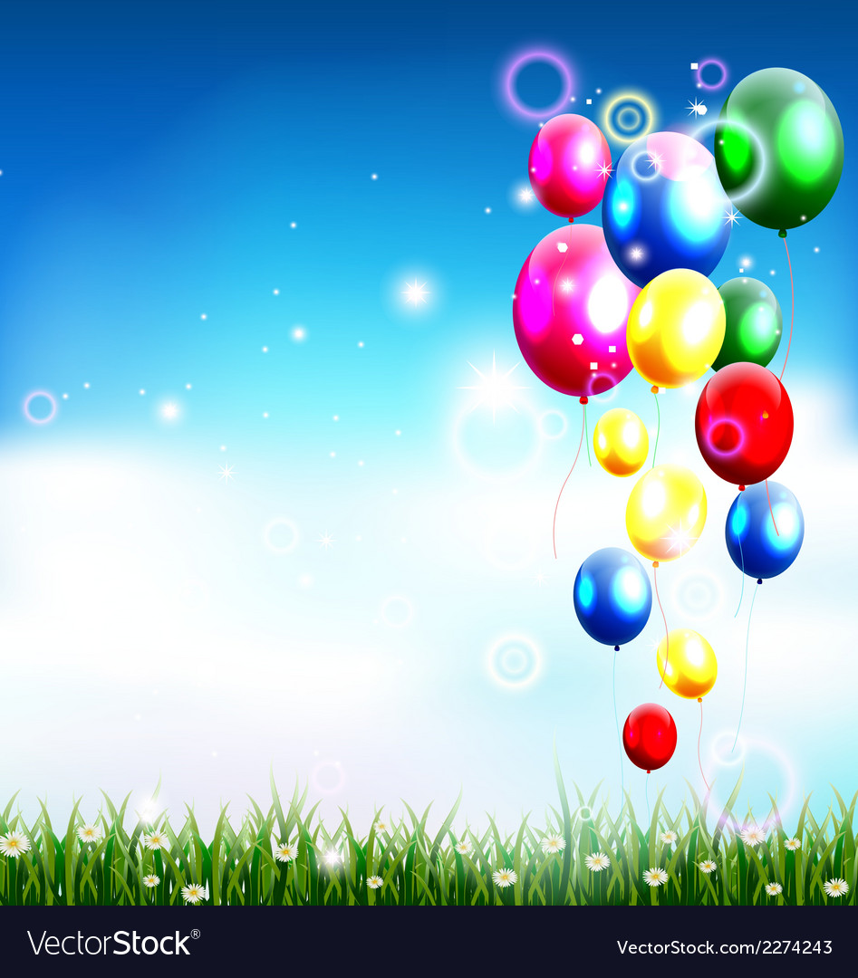 Balloons under blue sky and beauty grass vector | Price: 1 Credit (USD $1)