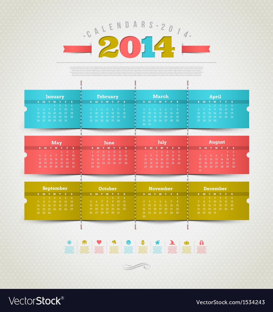 Calendar of 2014 year vector   Price: 1 Credit (USD $1)