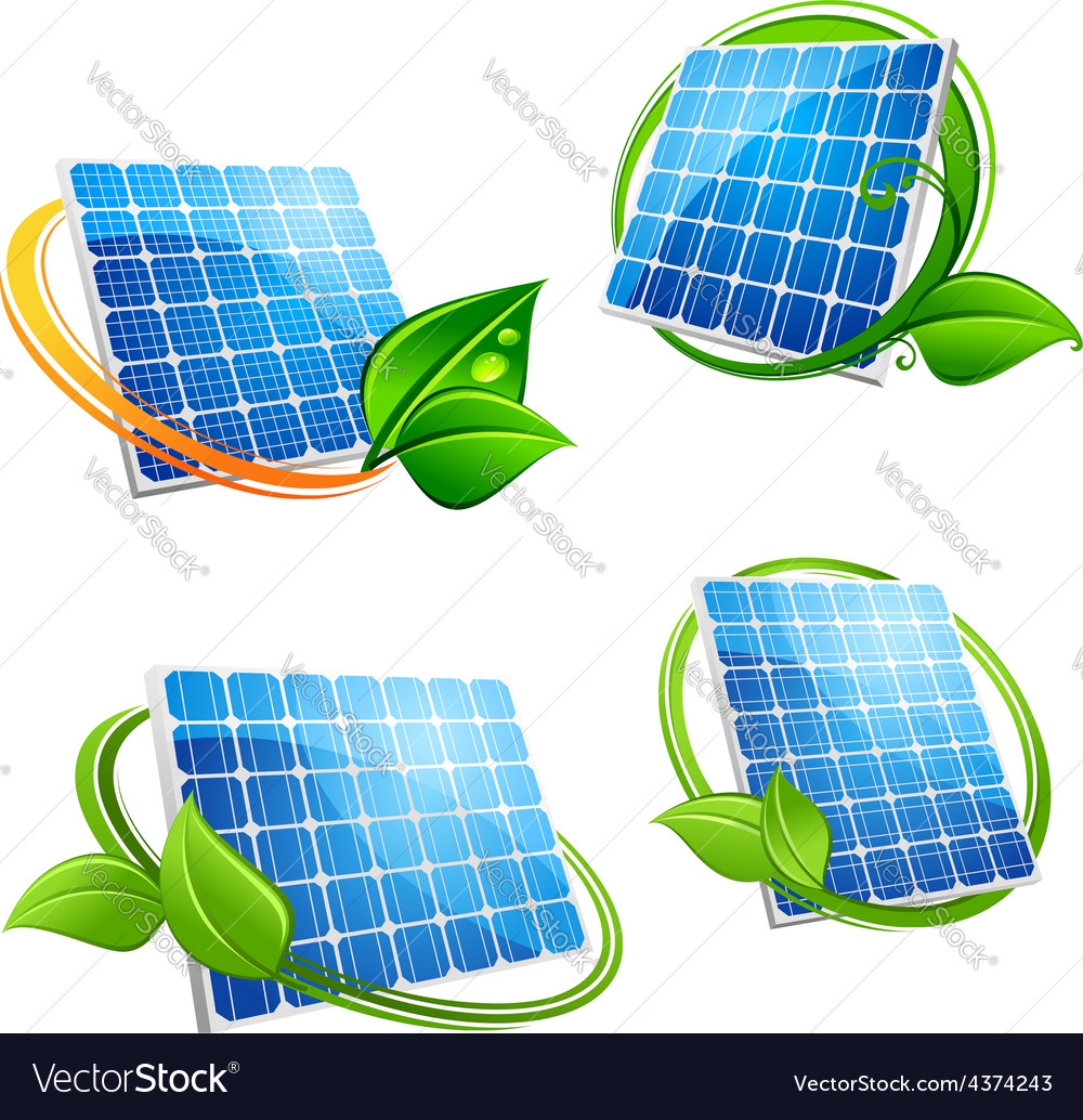 Cartoon solar panel with leafy frames vector   Price: 1 Credit (USD $1)