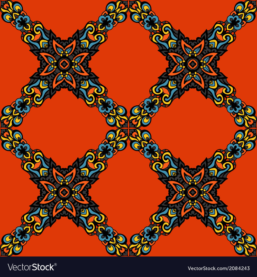 Damask seamless pattern flower vector | Price: 1 Credit (USD $1)