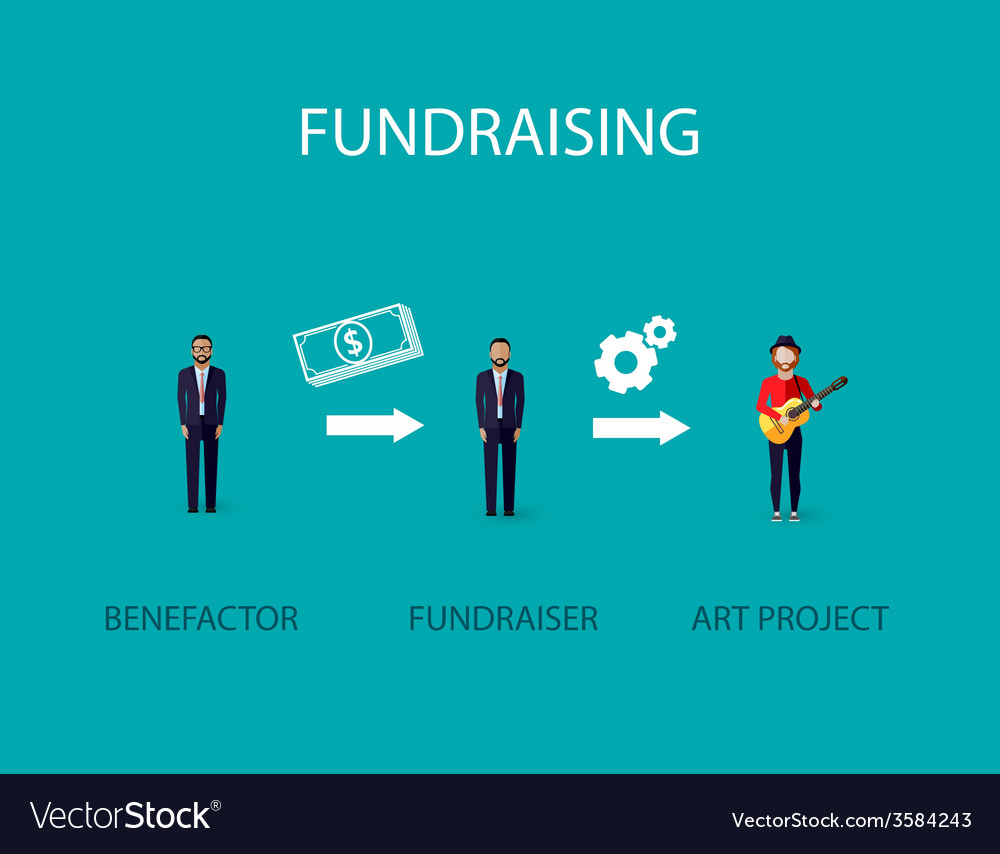 Flat of an infographic fundraising concept a vector | Price: 1 Credit (USD $1)