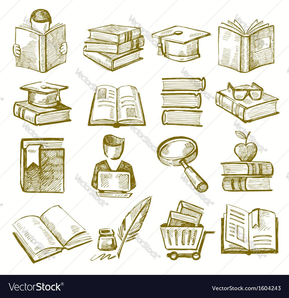 Hand draw books vector | Price: 1 Credit (USD $1)
