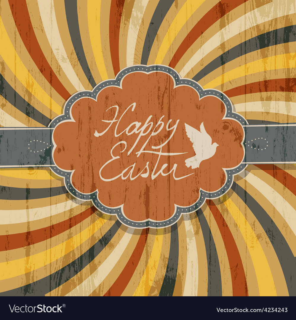 Happy easter retro rays vector | Price: 1 Credit (USD $1)