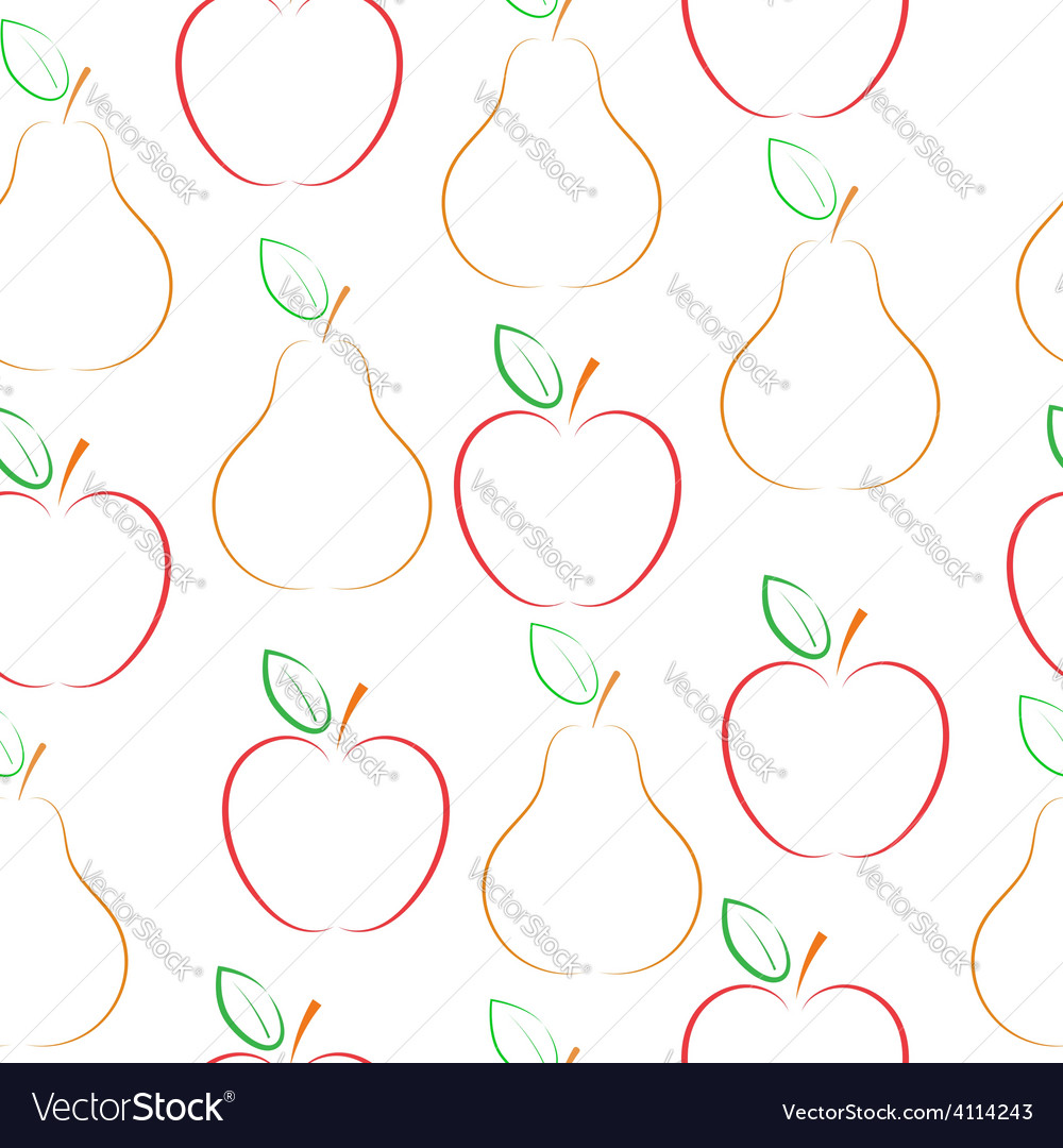 Pears and apples pattern over white background vector | Price: 1 Credit (USD $1)