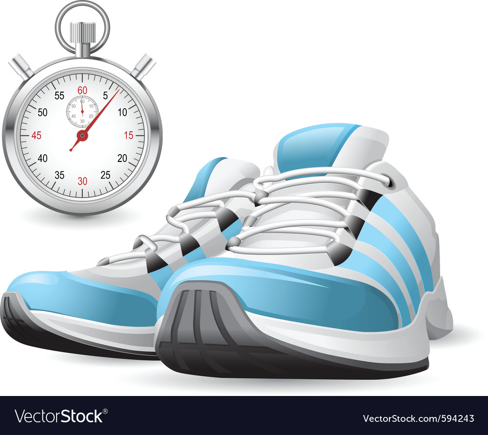 Running shoes and stopwatch vector | Price: 3 Credit (USD $3)