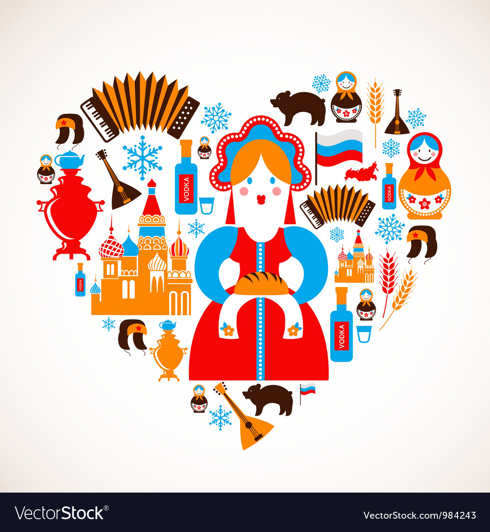 Russia love - heart with icons vector | Price: 3 Credit (USD $3)