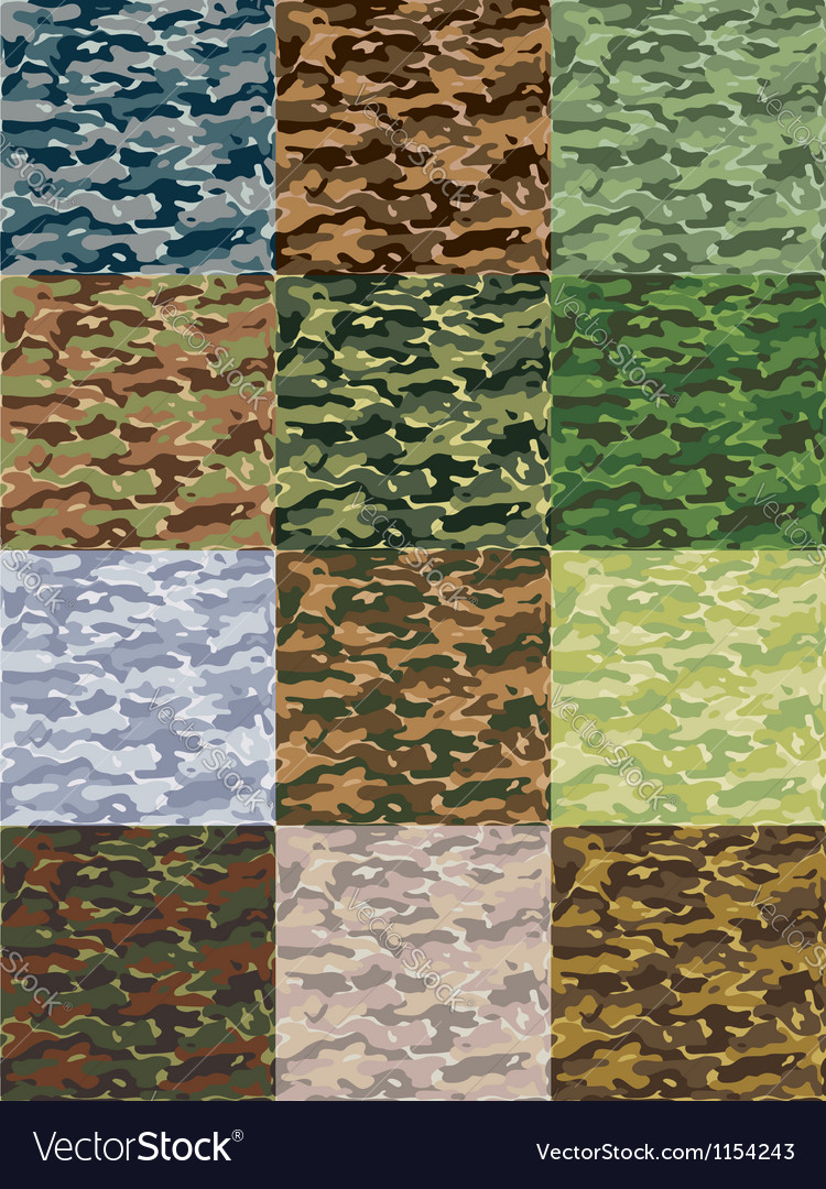 Seamless camouflage patterns in 12 colors vector