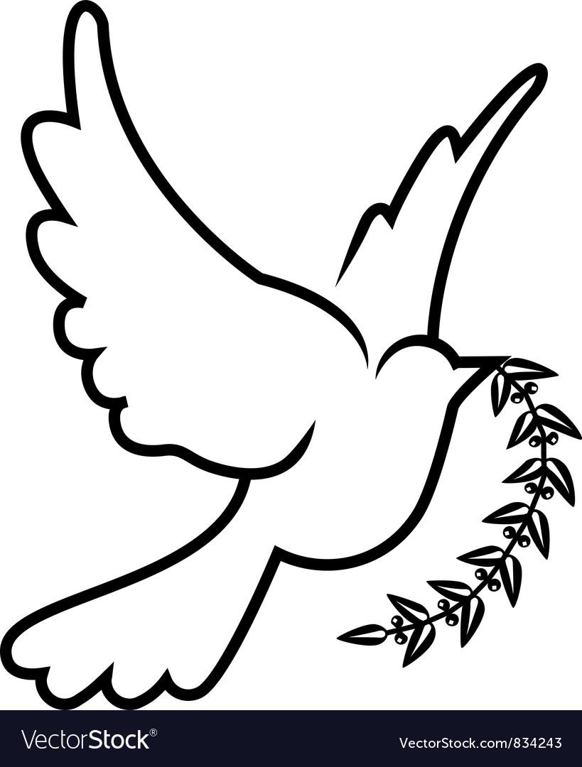 Symbol of dove olive branch vector   Price: 1 Credit (USD $1)