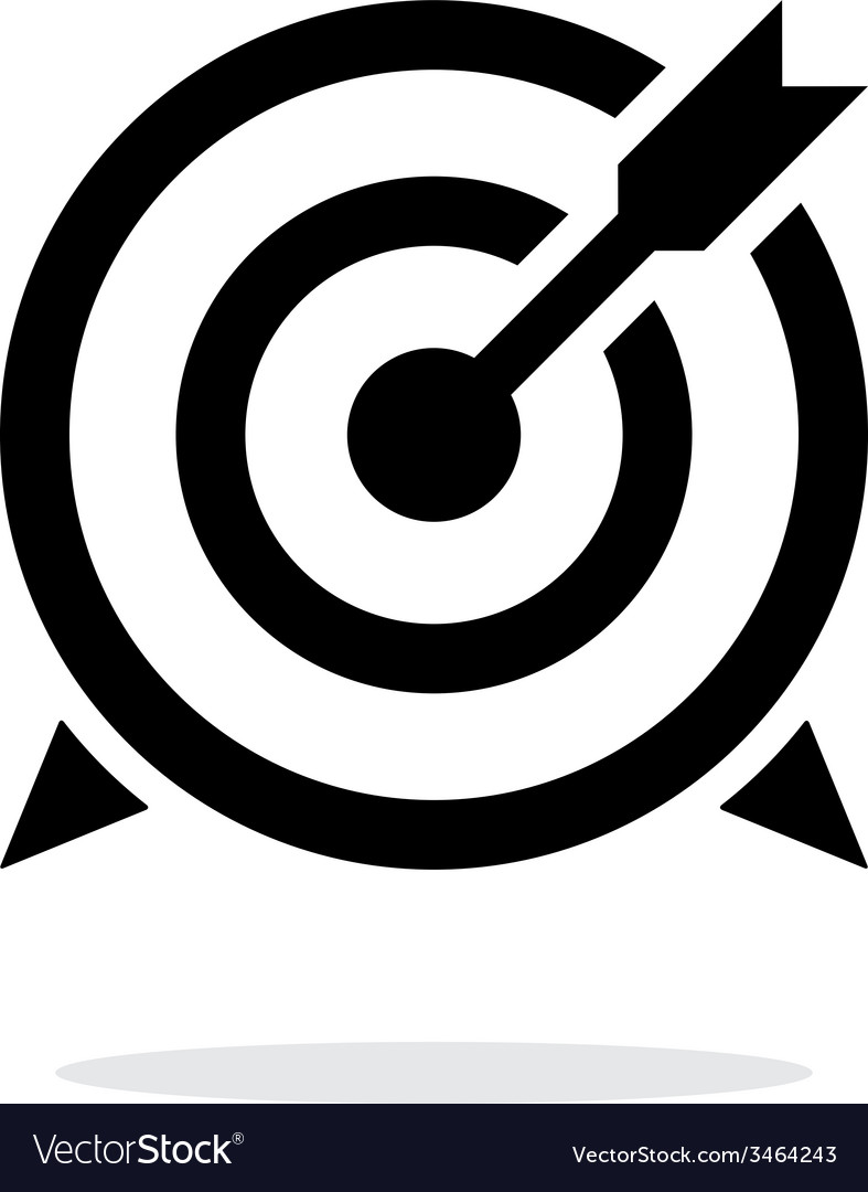 Target with arrow icon on white background vector | Price: 1 Credit (USD $1)