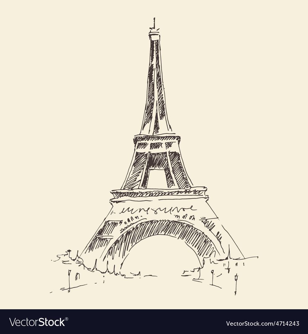 Tower paris france architecture vintage vector | Price: 1 Credit (USD $1)
