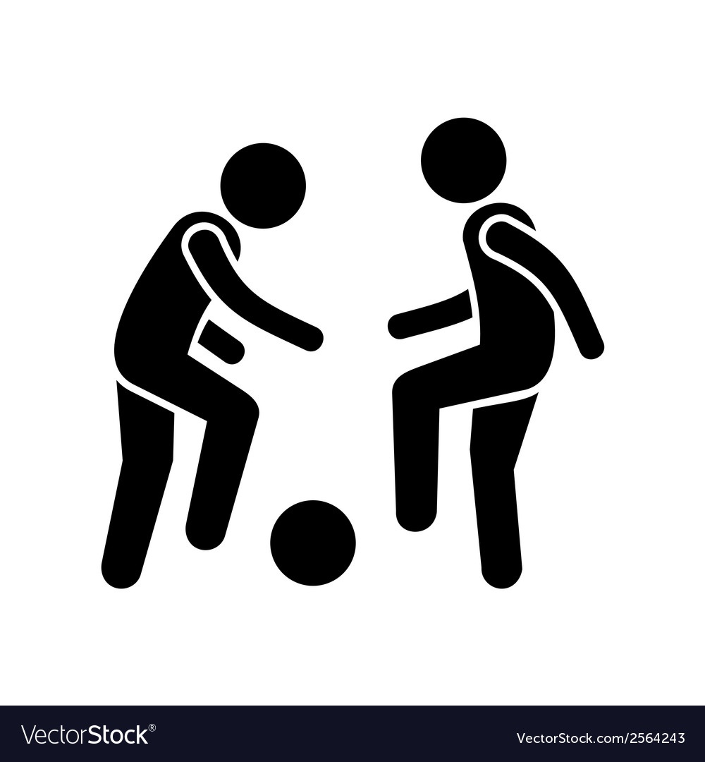 Two football players with ball icon vector | Price: 1 Credit (USD $1)