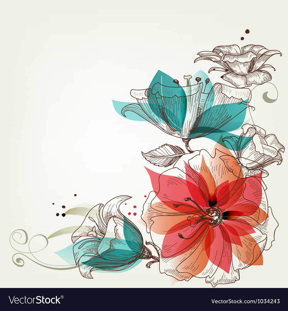 Vintage flowers background vector | Price: 1 Credit (USD $1)