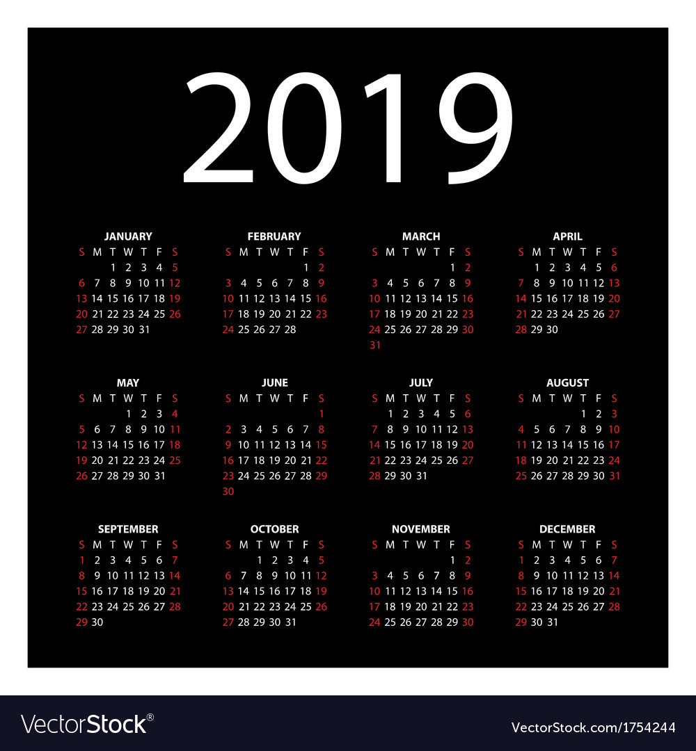 Calendar for 2019 vector | Price: 1 Credit (USD $1)